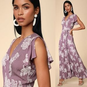 Lulu's Heart Of Gold Floral Wrap Maxi Dress